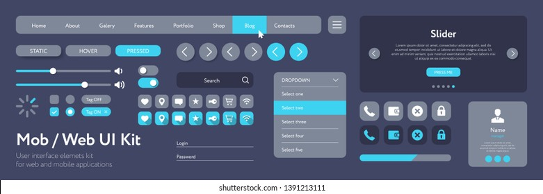 Vector UI kit for mobile applications and web sites. Universal user interface template with responsive design, tools and buttons. Flat menu icons and control elements on color background.