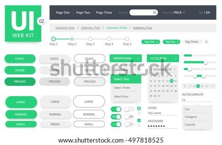vector ui kit web template のベクター画像素材 ロイヤリティフリー