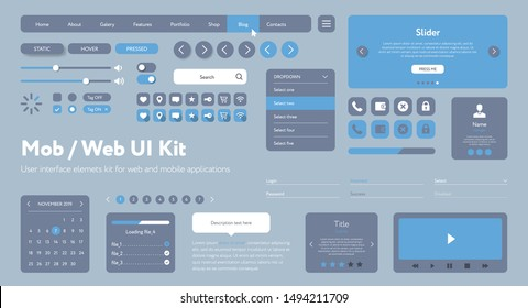 Vector UI UX kit for mobile applications and web sites. Universal user interface template with responsive design, tools and buttons. Flat menu icons and control elements on color blue background.