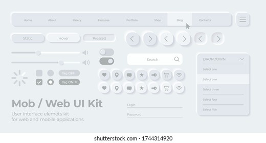 Vector UI UX kit for mobile applications, web and social media. Universal user interface template with responsive design, tools and buttons. Neumorphism icons and control elements on light background.