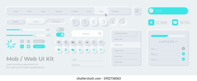 Vector UI UX kit for mobile applications, web and social media. Universal user interface template with realistic design, tools and buttons. Neumorphism icons and control elements on light background.
