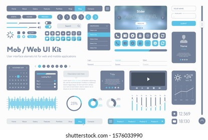 Vector UI UX kit. Universal user interface template with responsive design, tools and buttons for mobile applications and web sites. Flat menu icons and control elements on white background.