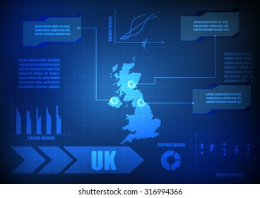 Vector : UK map with network line and grid blue background