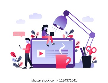 Vector ultraviolet gradient illustration of communication via the Internet, social networking, chat, video, news, messages, web site, mobile web graphics. Young woman working with laptop at work desk.