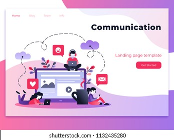 Vector ultraviolet gradient illustration of communication via the Internet, social networking, chat, video, news, messages, web site, mobile web graphics. Landing page template