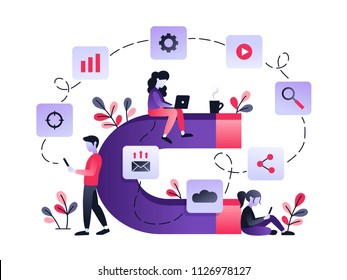 Vector ultraviolet illustration of attracting online customers. Big magnet and people with laptop around. Customer retention strategy, digital inbound marketing, customer attraction gradient banner.
