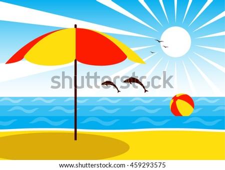 Vector Umbrella On Beach Beach Ball Stock Vector Royalty Free
