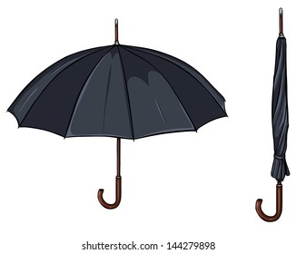 vector umbrella in open and folded form
