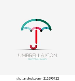 Vector umbrella, protection company logo design, business symbol concept, minimal line style