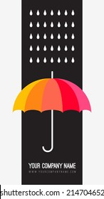 Vector umbrella and rain drops. Abstract weather design. Black and white creative concept. Vector abstract hand drawn background. Colorful banner template. Vector illustration. Rainbow color umbrella.