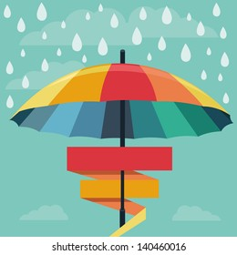 Vector umbrella and rain drops in rainbow colors - abstract weather concept