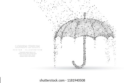 Vector umbrella rain protection. Abstract low poy umbrella cover in rain illustration. Isolated on white background with water fall drops. Meteorology, safety, autumn season concept