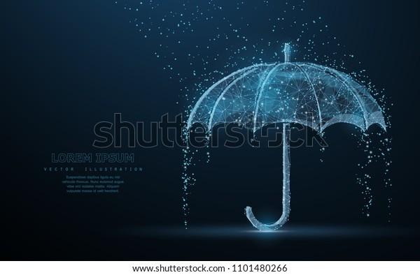Vector Umbrella Rain Protection Abstract Wire Stock Vector