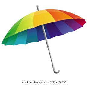Vector umbrella  in rainbow colors isolated on white