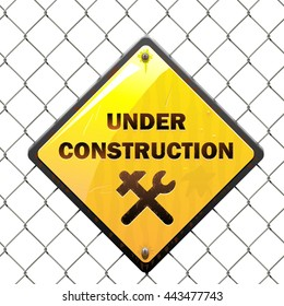 Vector Under Construction Sign with Mesh