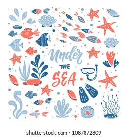 Vector under the sea illustration. Set of hand drawn elements fishes,starfish, coral, mask and fins, seaweed.  Underwater world illustration. Sea life. All objects separate.