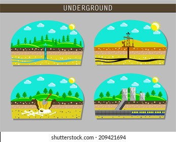 Image vectorielle schéma souterrain