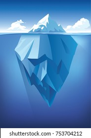 Vector underwater and above-water landscape with iceberg. Ocean waterline anime clean style. Background design