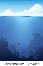Vector underwater and above-water landscape. Ocean waterline anime clean style. Background design