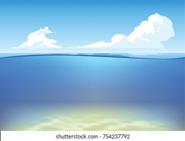 Vector underwater and above-water landscape with sandy bottom. Ocean waterline anime clean style. Background design