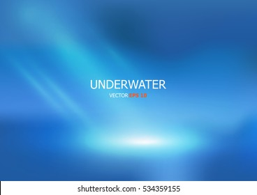 Vector Underwater background with wave lights. Blue color background.