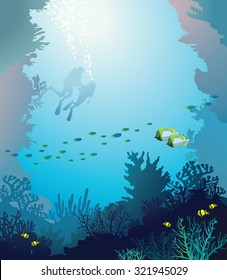 Vector underwater illustration - coral reef with school of fish and silhouette of two divers on a blue sea.