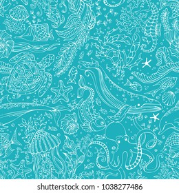 Vector underwater outline boundless background. Whale, dolphin, turtle, fish, starfish, crab, octopus, shell, jellyfish, seahorse, seaweed. Seamless pattern of ocean animals and plants.