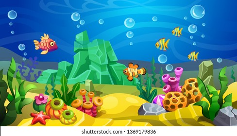 Vector, underwater world. Colorful algaes, coral, sponges, stones and fishes are on the seabed.