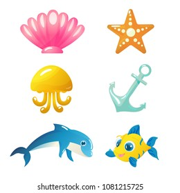 Vector underwater world elements - seashell, starfish, anchor, jellyfish, dolphin and fish isolated on white background in cartoon style. Perfect for game development or other design works.