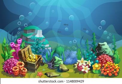 Vector underwater world. Treasure chest among algae and stones.