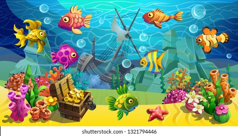 Vector underwater world with a treasure chest and a sunken ship. Fairytale fishes among the algae and stones.