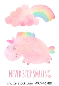 Vector unicorn. Cute pink watercolor unicorn and cloud, rainbow. Set of watercolor objects with unicorn isolated on white background for your design: textile, fabric, postcard, invitation, unicorn.