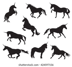Vector unicorns image collection. Elements for design.