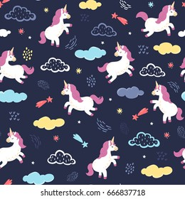 Vector unicorns jumping in the night sky. Seamless pattern with cute white unicorns, clouds, stars and other hand drawn elements. Adorable animal background