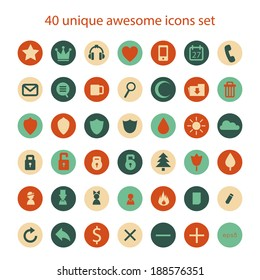 Vector unique abstract awesome retro vintage icons set.