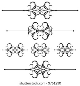 Vector Unique graphics useful as page dividers, decorations, ornaments and separators.