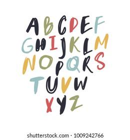 Vector unique lettering font, handdrawn. ABC, kids, funny, children. Isolated, letters set, alphabet, paint splashes, color.