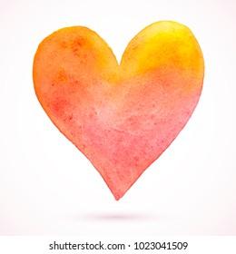 Vector unique watercolor heart. Paint vanilla heart. Vintage heart. Orange heart. Funny love card. Vector Valentines day.Holiday card