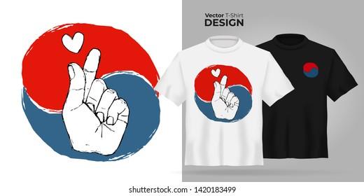 b675a0d39c42 Vector Unisex t-shirt mock up Korean fingers symbol - i love you. 3d