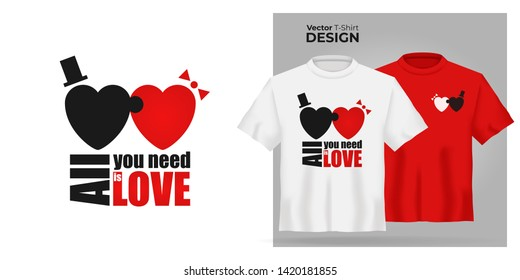 Vector Unisex t-shirt mock up set with type All You Need is Love. 3d realistic shirt template with puzzle heart man and woman have sex. Red and white tee mockup, front view design