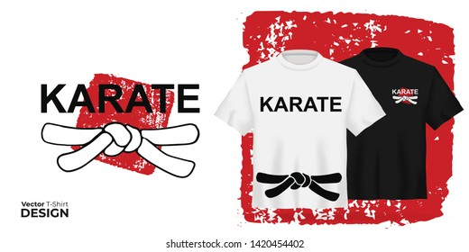 Vector Unisex t-shirt mock up set with japanese sport type - karate on red stamp. 3d realistic shirt template with black belt. Black and white tee mockup, front view design japan martial art print.
