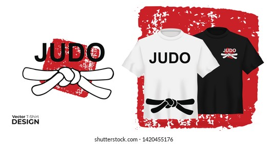 Vector Unisex t-shirt mock up set with japanese sport type - judo on red stamp. 3d realistic shirt template with black belt. Black and white tee mockup, front view design japan martial art print.