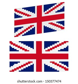 Vector United Kingdom flag of square blocks under plastic. Central projection and isometric.