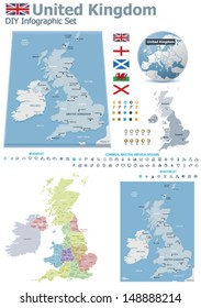 Vector United Kingdom political and administrative divisions maps; Great Britain, England, Wales, Scotland and North Ireland flags, Earth globe showing country location, map markers, related icon set