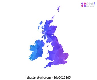Vector United Kingdom (UK) map colorful polygon triangle mosaic with white background. style gradient.