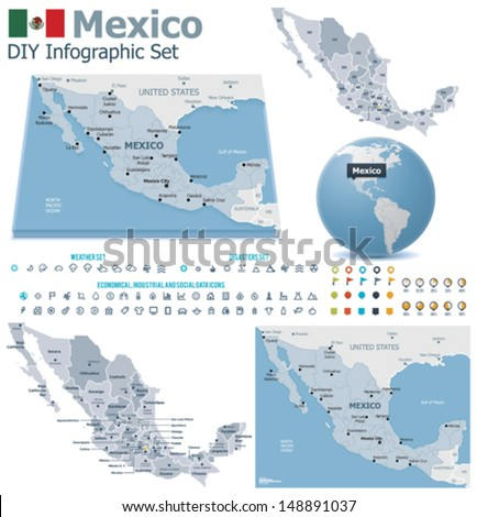 Vector United Mexican States Political Administrative Stock ...