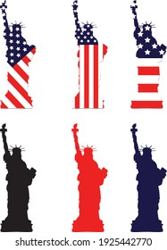 Vector of United state liberty statue. Statue with flag background and colored