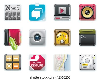 Vector universal square icons. Part 2 (white background)