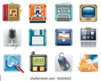 Vector universal square icons. Part 3 (white background)