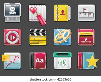 Vector universal square icons. Part 4 (gray background)